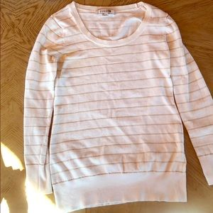 White and gold striped sweater